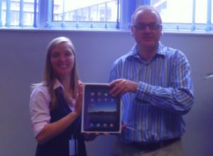 Laura Raschka, our Bristol Centre Managerpresenting BE Ball Winner, Antony Portno, with his Apple iPad.