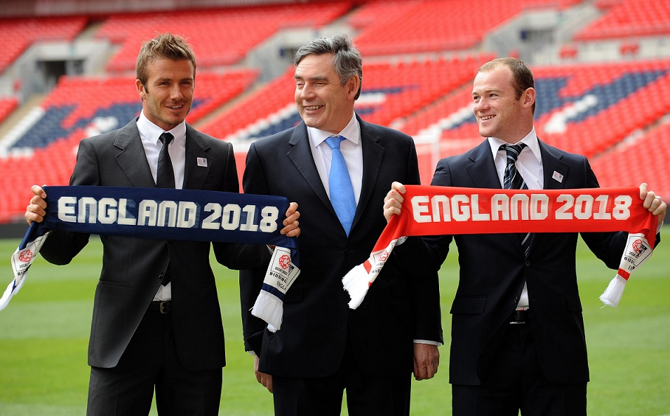 Britain's then Prime Minister Gordon Brown (centre) joins David Beckham (left) and Wayne Rooney to launch England's 2018 and 2022 World Cup bids at Wembley Stadium, London.
